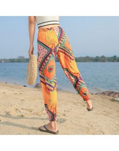 2019 Casual Women's Capris Summer Pants Cotton Loose Elastic Waist Beach Boho Pants Women Summer Trousers - yellow - 4V41415...