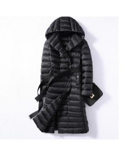 2019 Winter Plus Size 3XL Long Womens Down Jackets Ultra Light Duck Down Hooded Coats Autumn Puffer Parkas Snow Outwear - Bl...