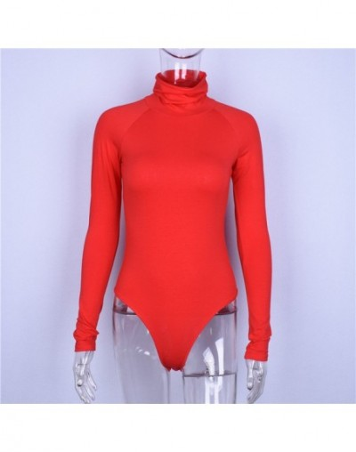 Spring Autumn Fashion Women Solid Color Skinny Bodysuits Long Sleeve High Neck Raglan Sleeve Stretch Body Suit Rompers - Red...