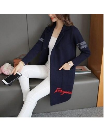 Selling new women sweaters knit cardigan Fashion printing long-sleeved middle-aged suit collar loose coat clothes HY95 - Nav...