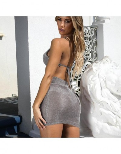 Women 2 Piece Outfits Sexy Sleeveless Bandage Top Halter Style Short Top+Bandage Decor Bodycon Skirt Ladies Streetwear Sets ...