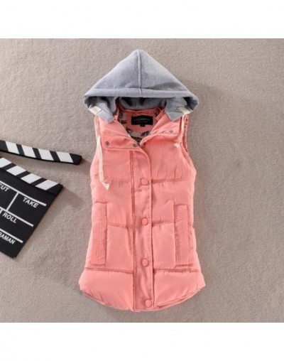 Plus Size New Women Cotton Hooded Down Vest Hat Female Thicken Winter Warm Black Jacket Outerwear M-6XL - Pink - 403073614905-2