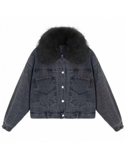 2019 Spring Fur collar plus Velvet lined Denim Jacket wild Spring women's short Motorcycle clothing style Denim Jacket Femal...
