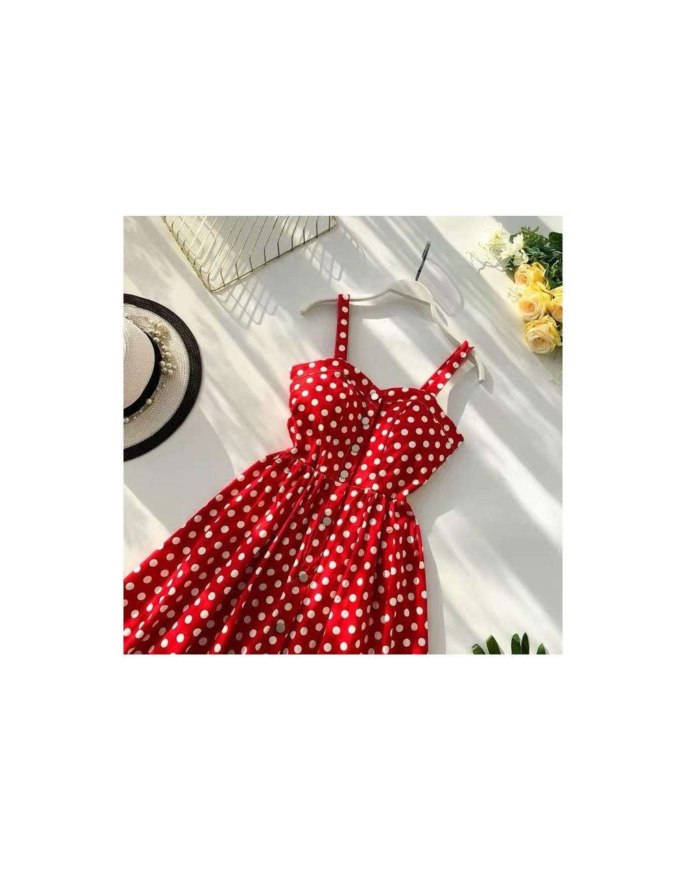 Marwin 2019 New-Coming Summer Women Spaghetti Strap Print Floral Sleeveless Empire Beach Dresses High Street Style - Red Spo...