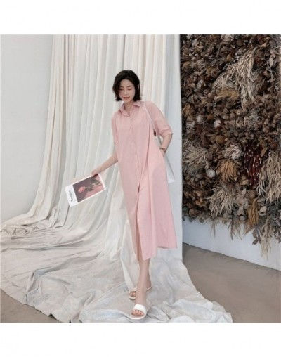 Summer dress 2019 New Style Loose Vintage Shirt dress Vestidos Robe Elbise Fashion Solid long dress - pink - 4X4155413649-3