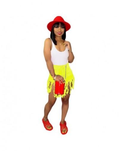 Tassel Jeans Shorts Women High Waist Streetwear Casual Denim Shorts Female Fashion Bodycon Hole Jeans Short Pants - yellow -...