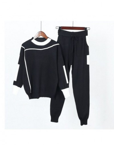 Women Knitted Sweaters Pants 2PCS Track Suits Woman Casual Knitted Trousers+Jumper Tops Clothing Sets Vestidos - Black - 4Y3...