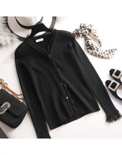 spring autumn chic Cardigan Women lace Knit Cardigan long Sleeve V-Neck casual long sleeve sweater Cardigan lace coat Jacket...