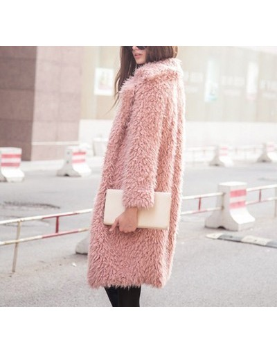 2019 Winter style women long Hairy Lapel Pure 5 color - Pink - 5M111155227172-4
