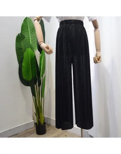 2019 new summer light ice silk chiffon tall waist pleated pants wide legged pants women loose hanging straight leisure trous...
