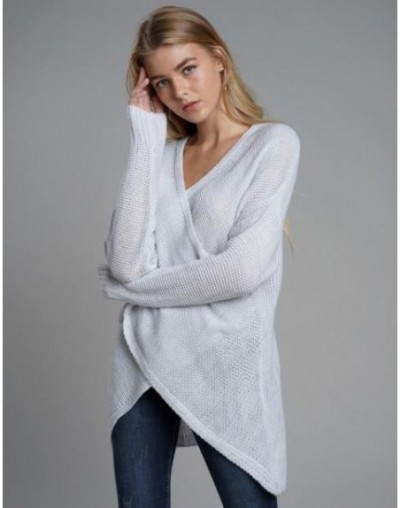 Fashion Pullovers high quality Women's Criss Cross Wrap Front V Neck Long Sleeve Knit Sweater Jumper - Gray - 4O3907609864-1