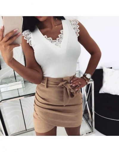 Womens Sexy V Neck Sleeveless Tee Tops Hollow Out Lace Stitching Tank Top Liva girl - White - 55111215758515-2