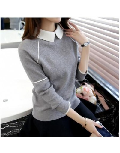 Women Pullover Sweater Spring Autumn New Fashion Warm Pullovers High Quality Solid Colors femme Turn-down Collar Sweaters - ...