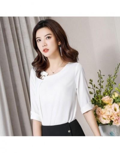 High quality satin fashion shirt women OL New retro formal half sleeve chiffon blouses office ladies plus size loose tops - ...