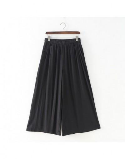 Summer Wide Leg Pants New Solid Color 2019 Women Loose Elastic Waist Pockets Casual 3 Colors Ankle-Length Pants - Black - 41...