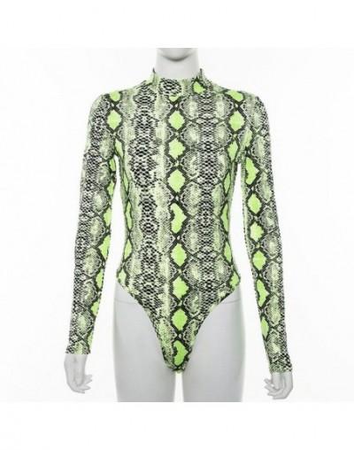 Neon Yellow Snake Skin Bodysuit Women 2019 Skinny Autumn Turtleneck Romper Bodysuits Long Sleeve Body Female - Neon Yellow -...