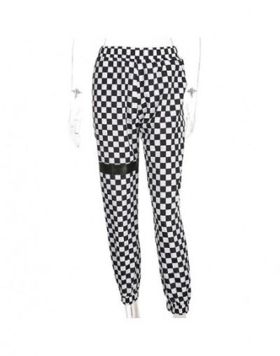 2019 New Women Spring Autumn Checkerboard Plaid Trousers Loose Pencil Pants Black White Casual Trend Long Capris - Plaid - 4...