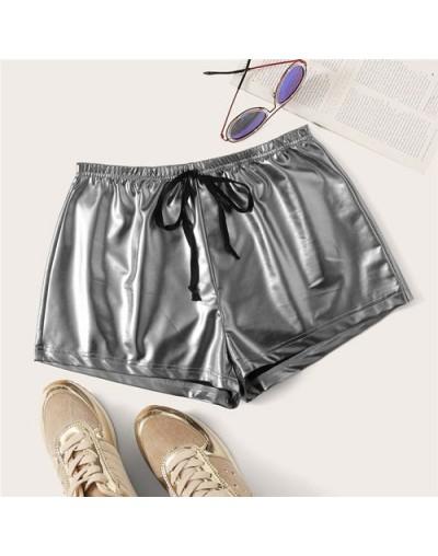 Solid Drawstring Waist PU Shorts Women Clothes 2019 Ladies Highstreet Glamorous Silver Elastic Waist Summer Shorts - Gray - ...
