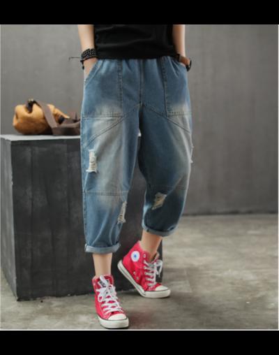 Spring Summer Jeans Retro Women Casual Loose Denim Pants New Elastic Waist pocket Bleached hole Vintage Streetwear Trousers ...