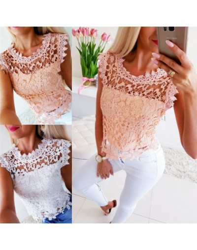 Fashion Casual Women Lace Vest Tank Top Sexy Sleeveless T-shirt Tee Tops - White - 5G111217022647-2
