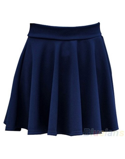 Women's Candy Color Stretch Waist Pleated Jersey Plain Skater Flared Mini Skirts - Navy - 4S3031265582-4