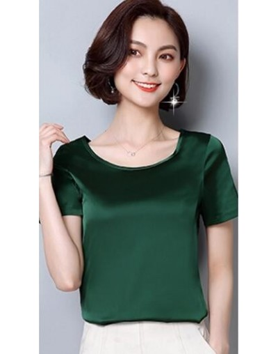 Plus Size Shirts Women 2019 Summer Fashion Basic Shirt Blouse Shorts Sleeve Casual Shirt Female M - 4XL LY342 - Green - 4P30...