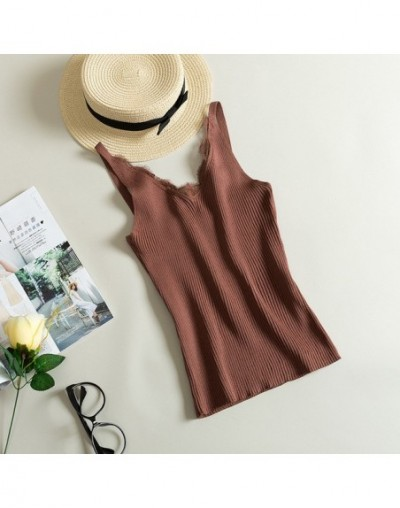 Lace Knitted Tank Tops Female Sexy V-neck Vest Plus size Solid Club Tops Women Black Beige T shirt Cotton Polyester Tank Top...