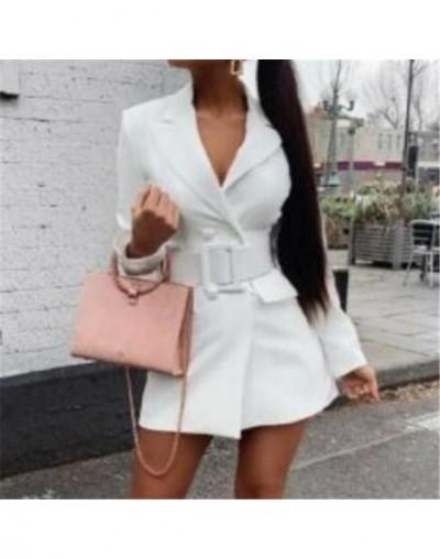 2019 Women Bodycon Lapel Blazer Fashion Ladies Formal Long Sleeve Blazer Womens Double Breasted Belt Long Sleeve V-neck Dres...