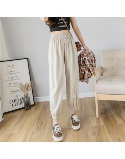 Fitaylor High Waist Harem Pants Women Loose Casual Cotton Linen Ankle-length Ladies Trousers Summer Black Slim Female Pants ...