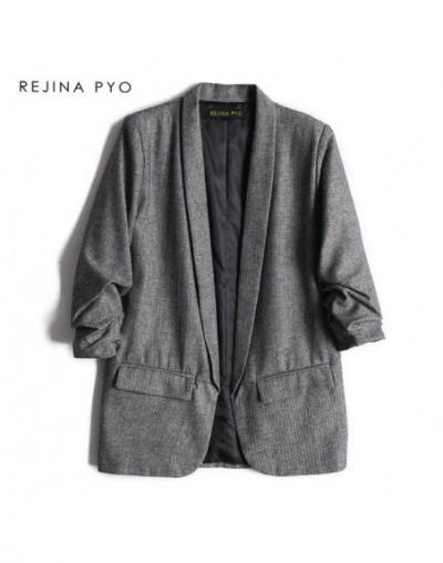 Women Fashion Solid Open Stitch Blazer Coat Three Quarter Sleeve Office Lady Casual Straight Blazer Notched Collar - Gray - ...
