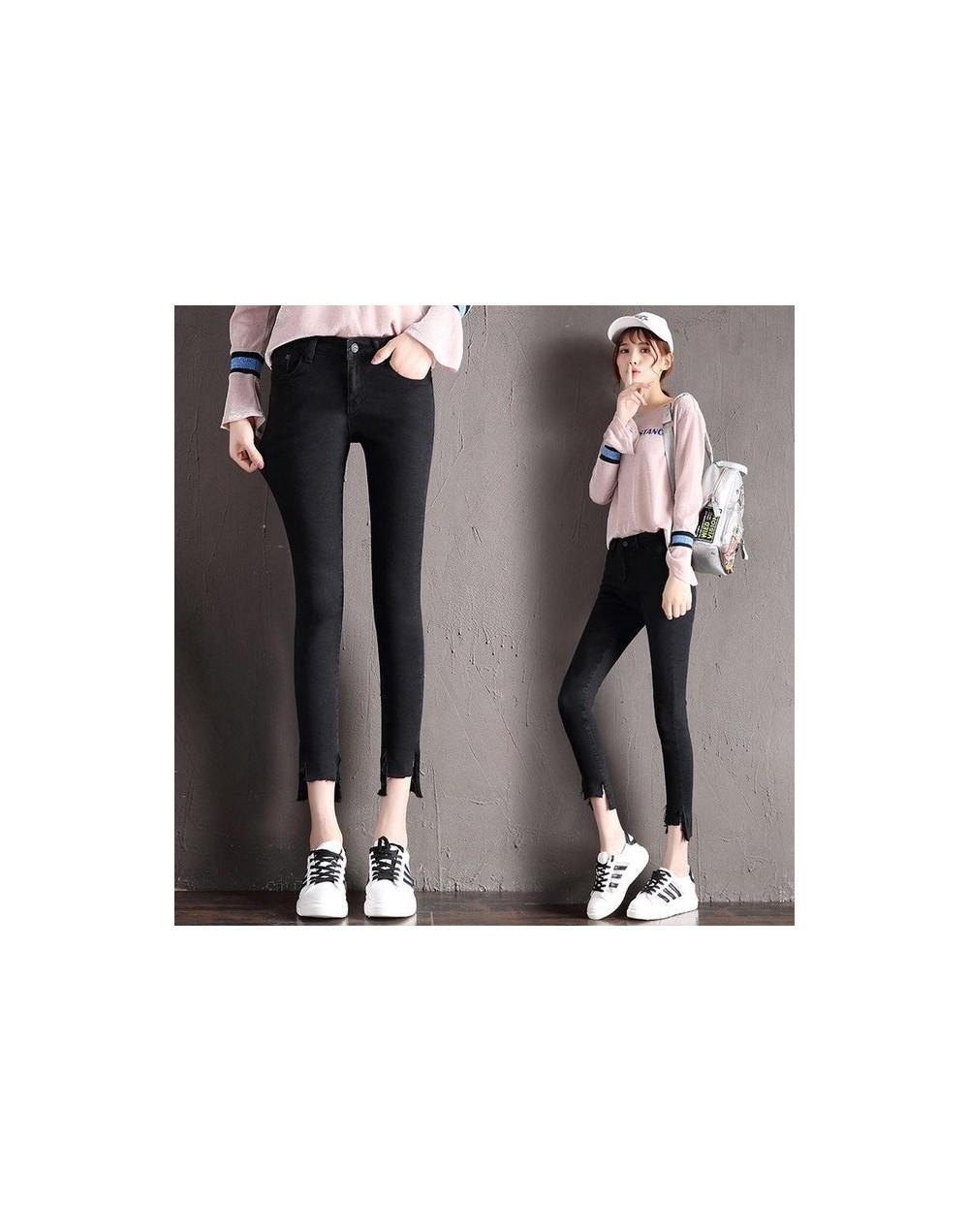Female Figure-hugging Jeans Irregular Trousers Feet Elastic Pencil Pants - black - 4N4160367286-1