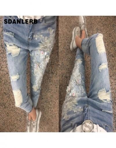 Luxury Hole New Pants Female Denim Jeans Retro Embroidery Bead Fashion Trends Jeans Light Blue Pants Jeans - - 5L111183586380