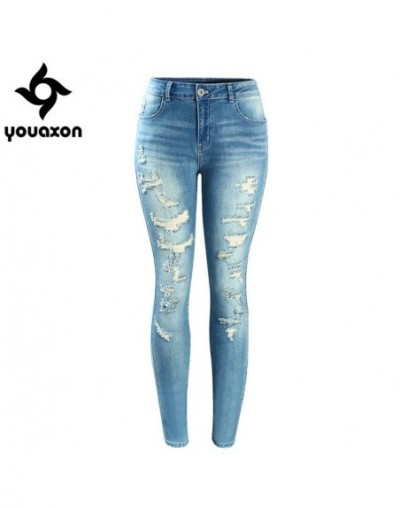 Women`s Brand New Fashion Mid High Waist Stretch Vintage Wash Ripped Skinny Denim Pants Jeans For Women - blue - 433701146293