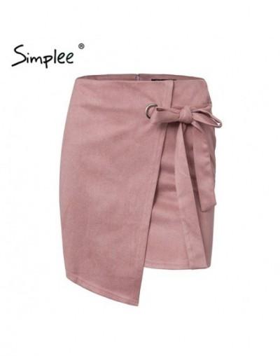 Asymmetrical split women skirts Elegant lace up bow tie ladies suede short mini skirts Solid black autumn female skirts - Pi...