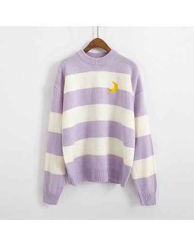 Women's Sweaters Kawaii Ulzzang College Candy Color Stripes Moon Sets Embroidery Sweater Female Harajuku Clothing For Women ...