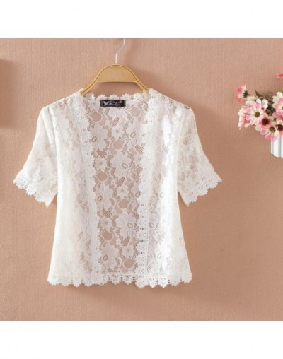 Summer New Women Short Sleeve white Lace Sweater Knit Shoulders Lady'S Fashionable Short Cardigans For Women Shawl R316 - 18...