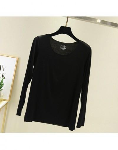 Fashion 2019 Slim Basic Solid Autumn Cotton T-Shirt Casual Women T Shirt Top Tee Crop Harajuku Elastic Thin Long Sleeve Tshi...