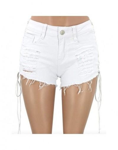 Sexy Women Denim Shorts Solid Lacing Ripped Mid Wasit Shorts 2018 Summer Slim Hole Bandage Mini Short Jeans Shorts Plus Size...