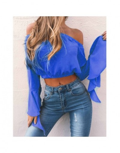 New Fashion Women's Sexy Off Shoulder Crop Tops Summer Casual Loose Tops T-shirt Sexy Street Wear 2019 Hot Sale - Blue - 4V3...