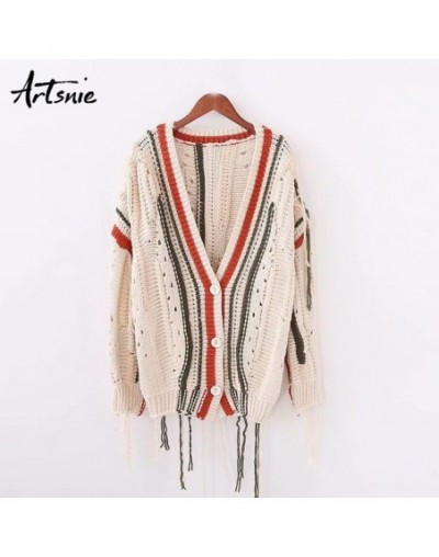 Beige Vintage Casual Cardigans Women Autumn Winter Streetwear V Neck Long Sleeve Tassel Sweaters Knitter Coat Pull Femme - B...