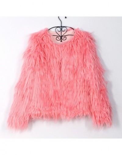 Fashion Furry Faux Fur Coat Women Fluffy Warm Long Sleeve Female Outerwear Autumn Winter Coat Jacket Hairy Collarless Overco...
