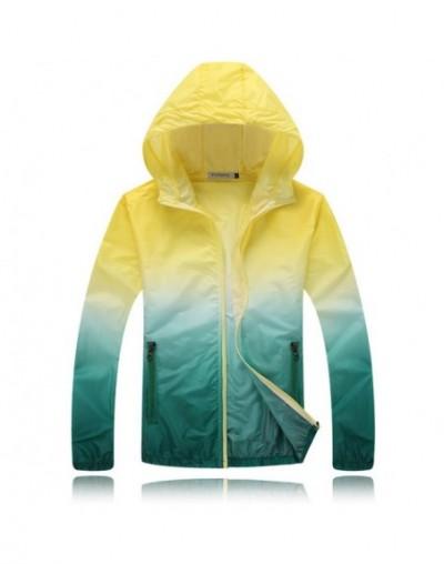 Waterproof Ultra-thin Sweatshirt Women Hooded UV Protection Jacket Women Sunscreen Coat Men Outdoor Sports Windbreaker - Yel...