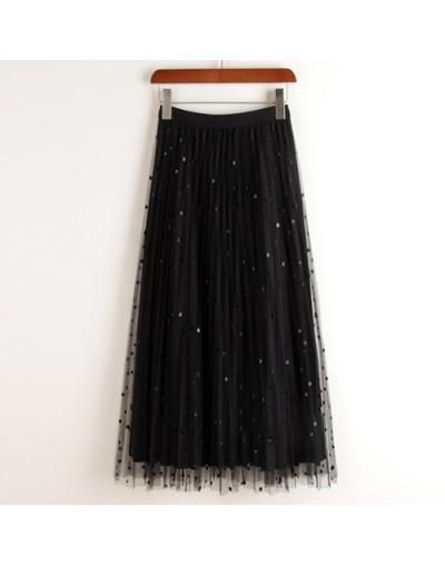 Reversible Tulle Velvet Skirt Women Fashion 2019 Spring Elegant Polka Dot Long Skirt Female High Waist Pleated Midi Skirt - ...
