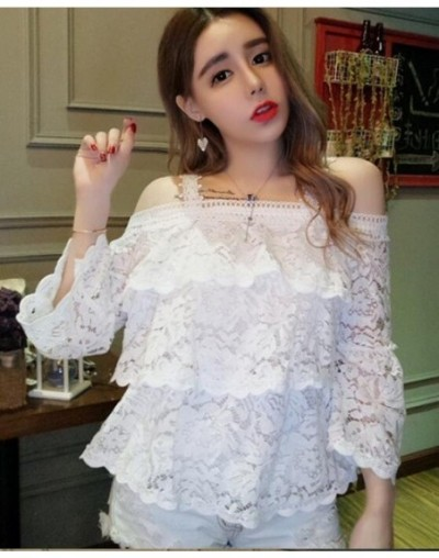 Black White Lace Blouses Shirts Hot Women Fashion Summer Ruffled Flare Sleeve Cute Sweet Hollow Out Crochet Off Shoulder Top...