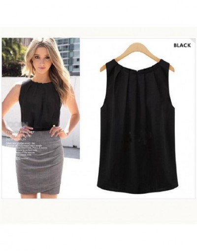 European And American Women's Summer Large Size Round Neck Pullover Folds Sleeveless Chiffon Shirt Solid Color Wild - Black ...