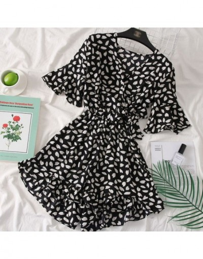 New Summer Women Chiffon Beach Playsuits V neck print floral female jumpsuits loose holiday sexy Bohemian playsuits - dot ba...