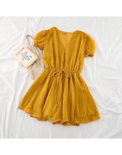 Women Dot Chiffon Rompers short sleeves Korean beach overalls bohemian loose casual summer wide leg pants playsuits - yellow...