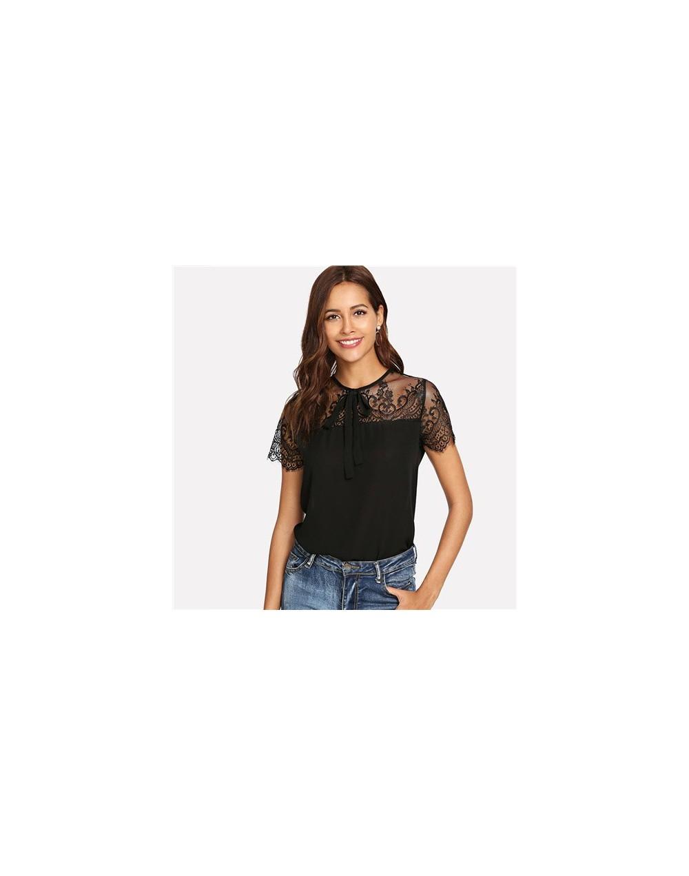 Tie Neck Lace Shoulder Top Short Sleeve Button Black Blouse Summer Tops For Women 2019 Office Ladies Elegant Blouses - Black...