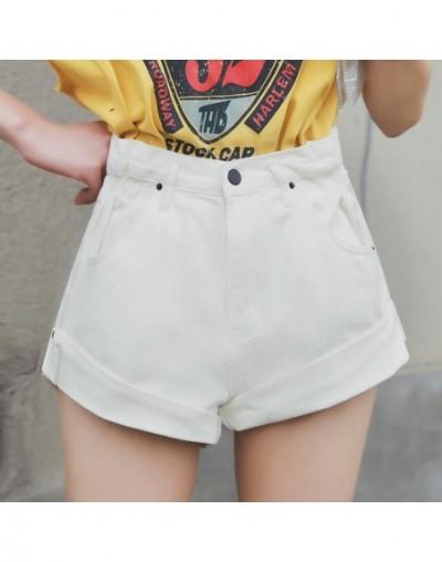 Vintage Denim Shorts Women High Waist Shorts Jeans Female Summer Sexy Hot Short Pants Women Crimping Denim Shorts - white - ...