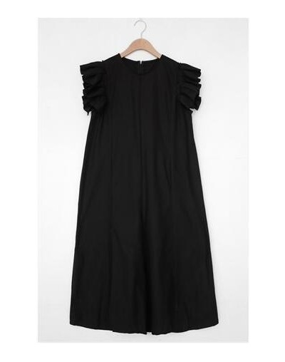 Korean Styles 2019 New Summer Flare Short Sleeves Pleated A-line Loose Long Dress Pullover Female Vestido WH01304L - black -...